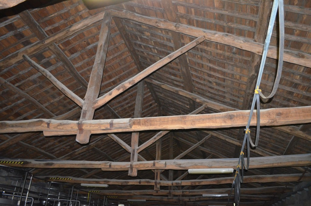 The original roof beams of the wine making facility at Meao.