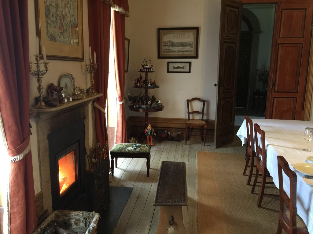 A warm fireplace on a cold October sfternoon in the dining room was hard to leave after lunch