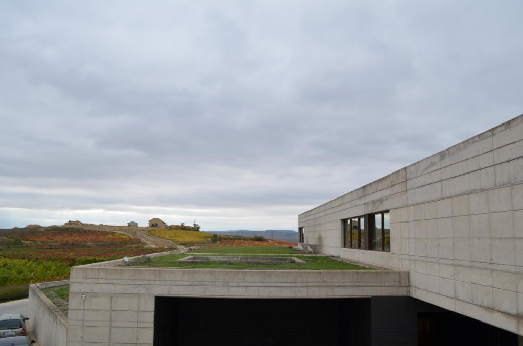 The winery is modern in design, but is designed to look like it is part of the environment from a distance.